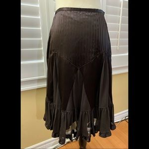 Banana Republic Brown Silk Ruffle Skirt